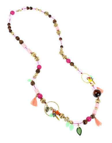 Betsey Johnson Beaded Station Necklace-MULTI-One Size