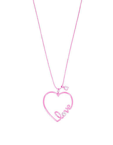 Betsey Johnson Crystal Heart Pendant Necklace-PINK-One Size