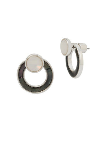 Kenneth Cole New York Black and White Mother-of-Pearl Front Back Earrings-BLACK-One Size