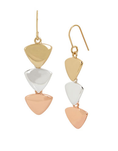 Kenneth Cole New York Tri-Tone Triangle Drop Earrings-PINK-One Size