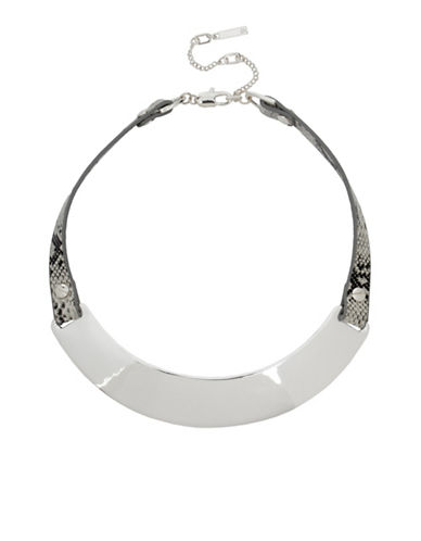 Kenneth Cole New York Leather Items Silvertone Sculptural Collar Necklace-SILVER-One Size