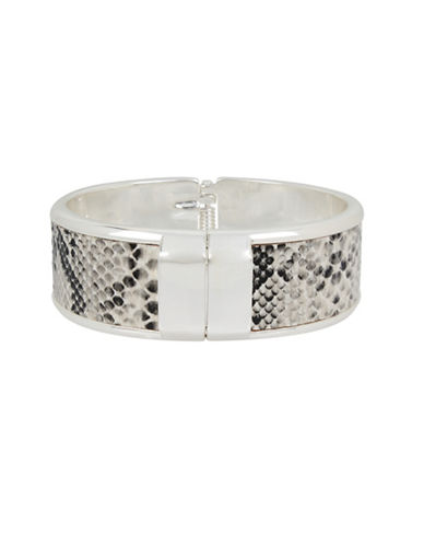 Kenneth Cole New York Leather Items Silvertone Snakeskin Hinged Bangle Bracelet-SILVER-One Size