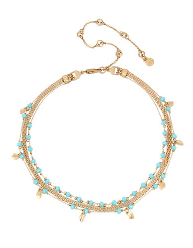 Kenneth Cole New York Turquoise Delicate Triple Chain Choker Necklace-BLUE-One Size
