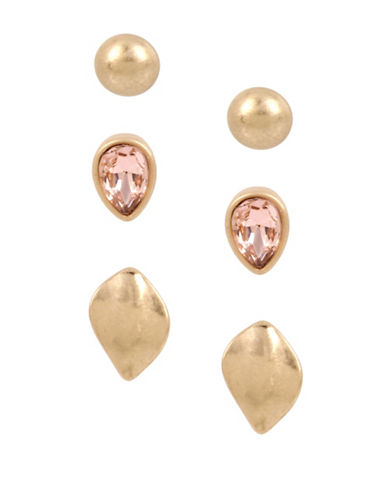 Kenneth Cole New York Three-Pack Delicate Earrings Set-GOLD-One Size