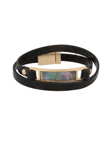 Kenneth Cole New York Mother-of-Pearl Wrap Bracelet-BLACK-One Size
