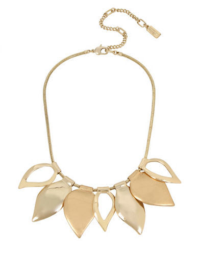 Kenneth Cole New York Leaf Pendant Necklace-GOLD-One Size