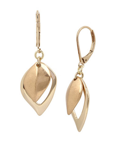 Kenneth Cole New York Leaf Drop Earrings-GOLD-One Size