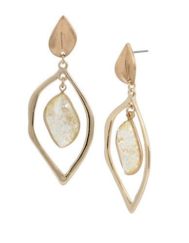 Kenneth Cole New York Crystal Double Drop Earrings-GOLD-One Size