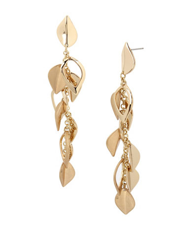 Kenneth Cole New York Leaf Textured Linear Earrings-GOLD-One Size