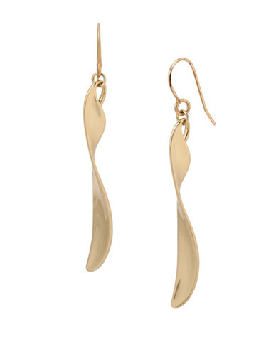 Kenneth Cole New York Twisted Linear Earrings-GOLD-One Size