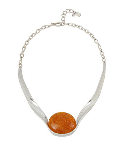 Robert Lee Morris Soho Colour Wheel Amber Sculptural Necklace-SILVER-One Size