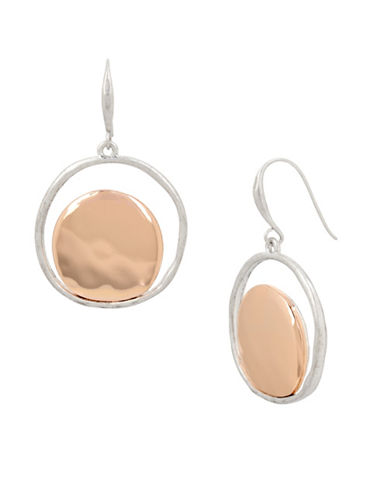 Robert Lee Morris Soho Two-Tone Plated Circular Drop Earrings-ROSE GOLD-One Size