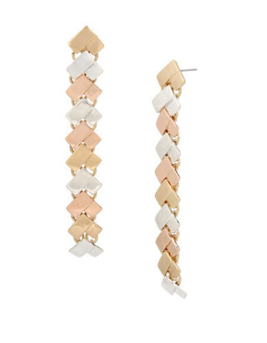 Robert Lee Morris Soho Tri-Tonal Chevron Linear Earrings-MULTI-One Size
