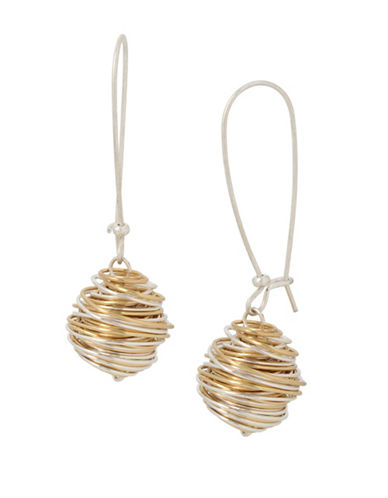 Robert Lee Morris Soho Two-Tone Plated Wrapped Drop Earrings-MULTI-One Size