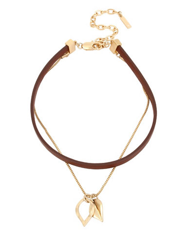 Kenneth Cole New York Leaf Pendant Necklace with Leather Choker-BROWN-One Size