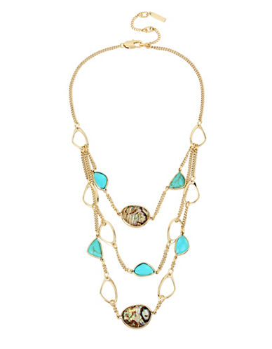 Kenneth Cole New York Semi-Precious Goldtone Multi-Row Necklace-MULTI-One Size