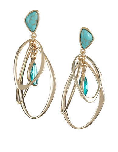 Kenneth Cole New York Orbital Drop Earrings-TEAL-One Size