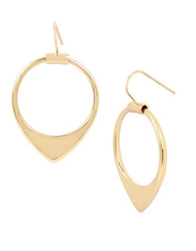 Kenneth Cole New York Gold Drop Hoop Earrings-GOLD-One Size