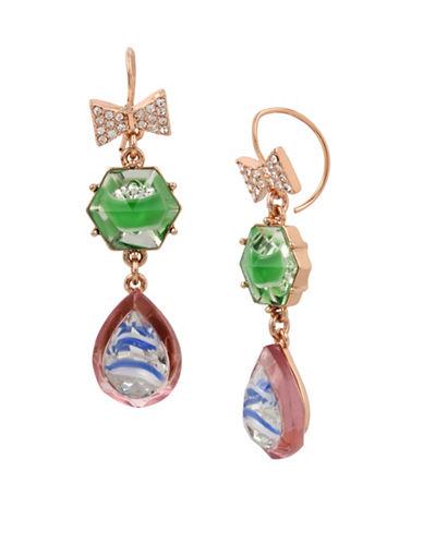 Betsey Johnson Brooklyn Pave Double Drop Earrings-MULTI-One Size