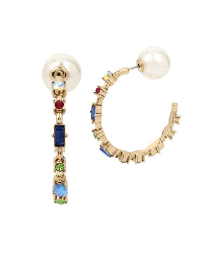 Betsey Johnson Brooklyn Station Hoop Earrings-MULTI-One Size