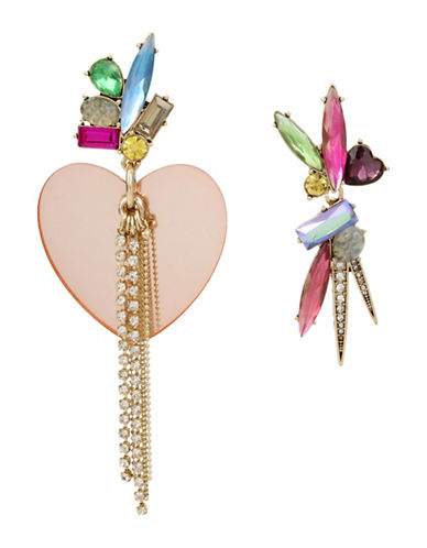 Betsey Johnson Brooklyn Heart and Stone Mismatch Earrings-MULTI-One Size