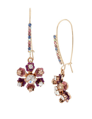 Betsey Johnson Brooklyn Goldtone Multi-Stone Flower Drop Earrings-PINK-One Size