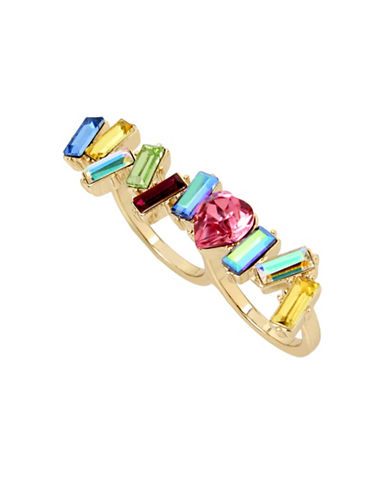 Betsey Johnson Crystal Multicoloured Double Ring-MULTI-One Size