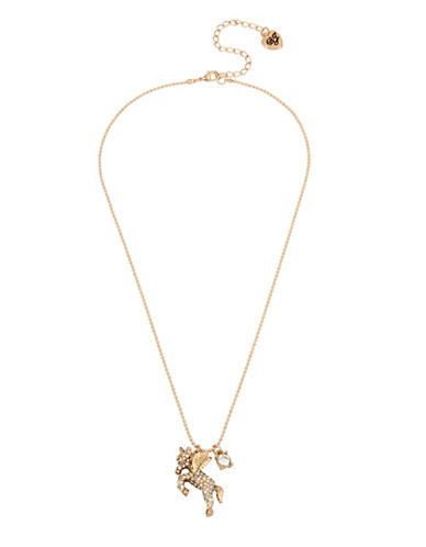 Betsey Johnson Crystal Pegasus Pendant Necklace-GOLD-One Size