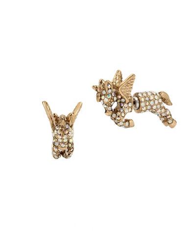 Betsey Johnson Crystal Pegasus Earrings-GOLD-One Size