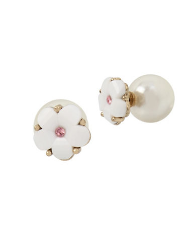 Betsey Johnson Floral and Faux Pearl Front-to-Back Earrings-WHITE-One Size