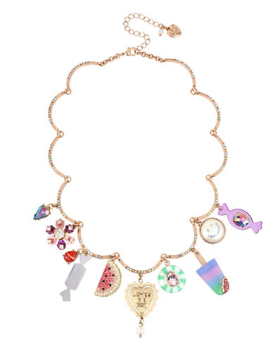 Betsey Johnson Brooklyn Charm Necklace-MULTI-One Size