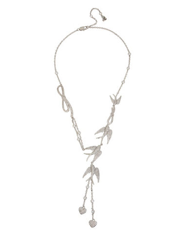 Betsey Johnson Blue Birds Pavé Crystal Y Necklace-SILVER-One Size