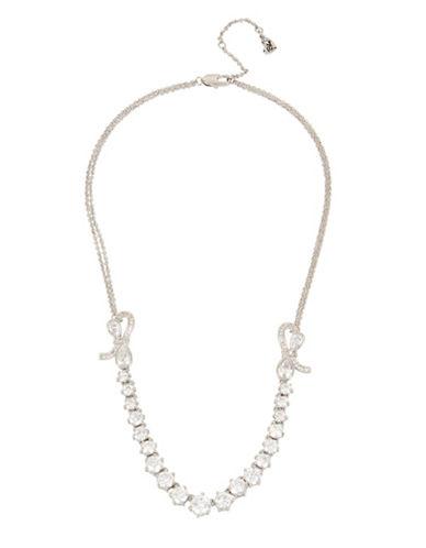 Betsey Johnson Blue Birds Pavé Crystal Frontal Necklace-GREY-One Size