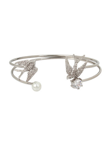Betsey Johnson Blue Birds Two-Piece Faux Pearl Crystal Cuff Bracelet-SILVER-One Size