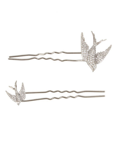 Betsey Johnson Blue Birds Pavé Crystal Dove Hair Pins-SILVER-One Size