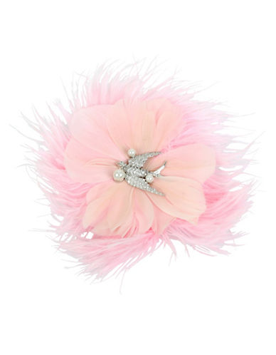 Betsey Johnson Pink Feather and Dove Hair Clip-PINK-One Size