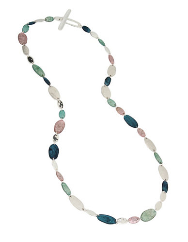Robert Lee Morris Soho Silver and Semi-Precious Iridescence Long Station Necklace-MULTI-One Size