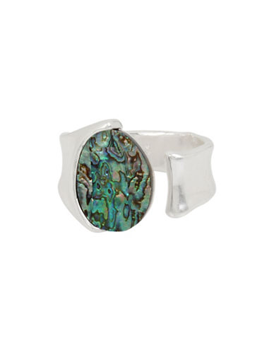 Robert Lee Morris Soho Abalone Iridescent Hinged Cuff Bracelet-SILVER/MULTI-One Size