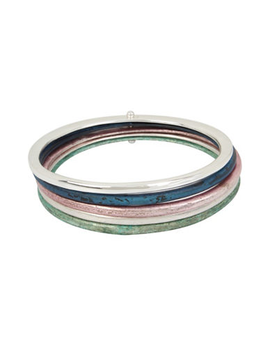 Robert Lee Morris Soho Five-Piece Silver Iridescent Bangle Bracelet Set-MULTI-One Size