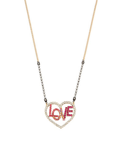 Betsey Johnson Crystal Love Pendant Necklace-ASSORTED-One Size