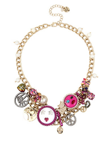 Betsey Johnson Multi-Charm and Pearl Necklace-ASSORTED-One Size