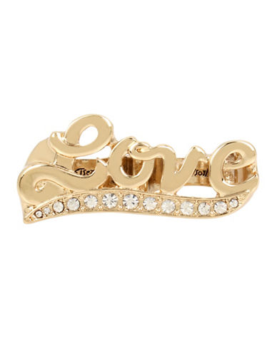 Betsey Johnson Crystal Love Double Ring-GOLD-7