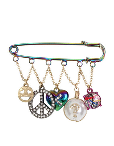 Betsey Johnson Crystal Plated Safety Pin Earrings-MULTI-One Size