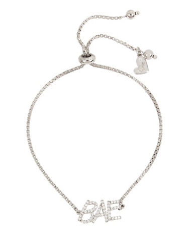 Betsey Johnson Blue Word Play Crystal Bae Bracelet-SILVER-One Size