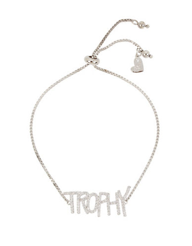 Betsey Johnson Blue Word Play Crystal Trophy Bracelet-CRYSTAL-One Size