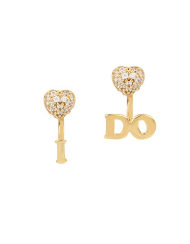 Betsey Johnson Blue Word Play Crystal Front Back Earrings-GOLD-One Size