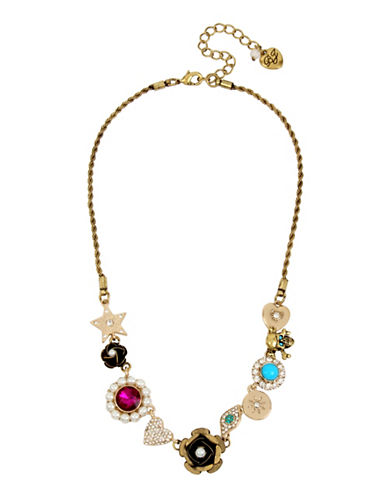 Betsey Johnson Multi-Charm Frontal Necklace-MULTI-One Size