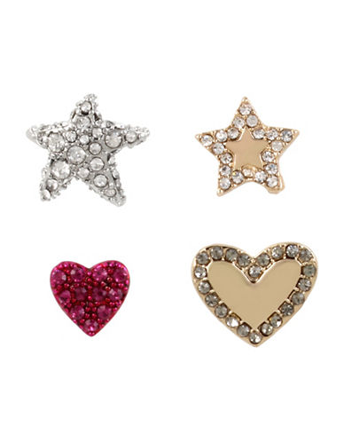 Betsey Johnson Crystal Heart & Star Earring Set-ASSORTED-One Size