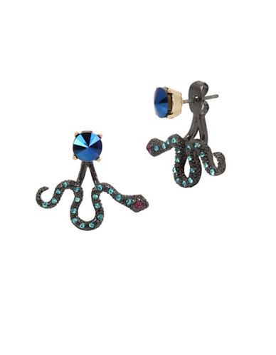 Betsey Johnson Snake Drop Earrings-BLUE-One Size
