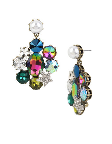 Betsey Johnson Stone and Faux Pearl Earrings-ASSORTED-One Size